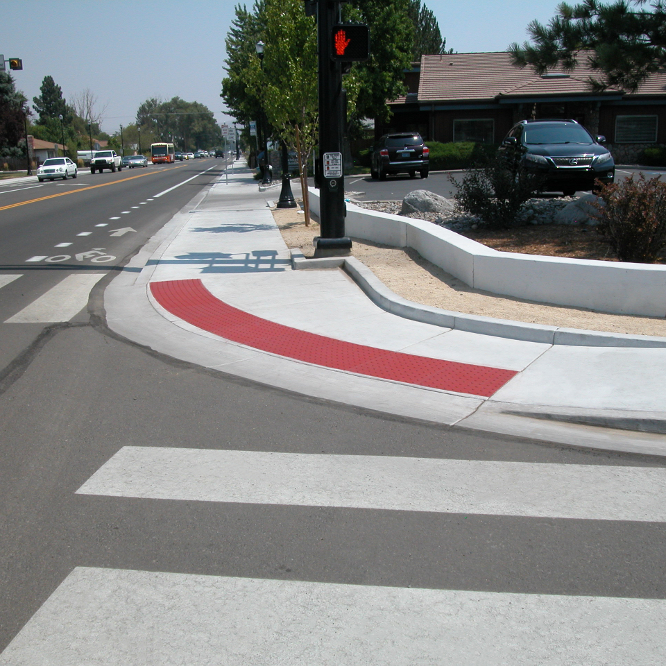 Intersection Example of ADA Detectable Warnings by TekWay