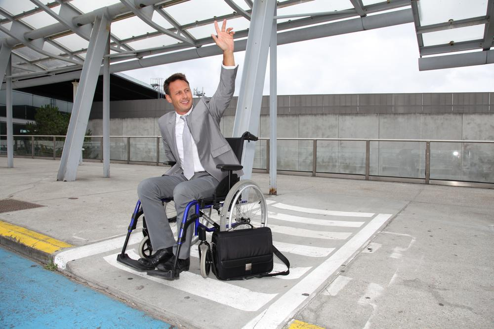 Disabled Person at an Airport Pedestrian Intersection